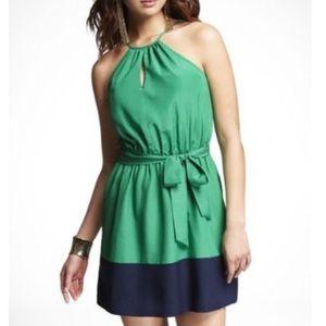 Express Color Block Halter Dress